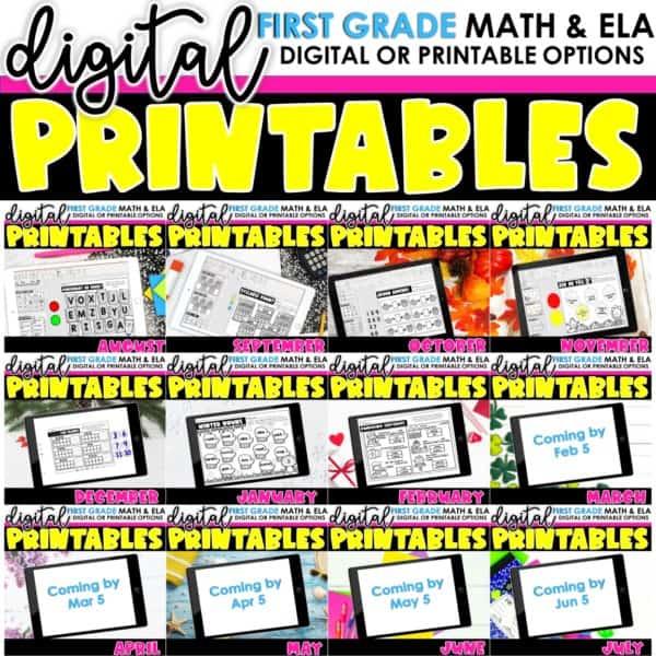 First Grade Digital Printables Growing Bundle | SeeSaw Google or Print 1
