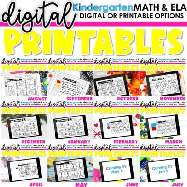Kindergarten Digital Printables Growing Bundle | SeeSaw Google or Print 1