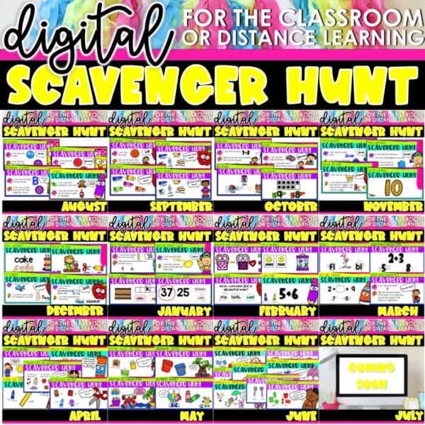 Academic Scavenger Hunts for Kindergarten and 1st Grade | Digital Bundle 2
