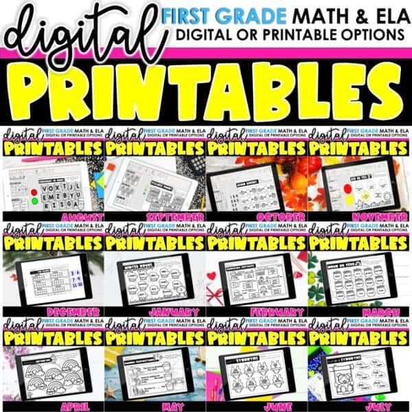 First Grade Digital Printables Bundle | SeeSaw Google or Print 1