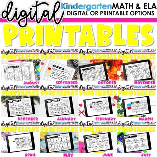 Kindergarten Digital Printables Bundle | SeeSaw Google or Print 1