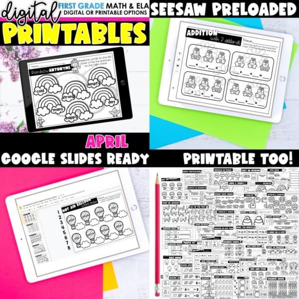 First Grade Digital Printables Bundle | SeeSaw Google or Print 13