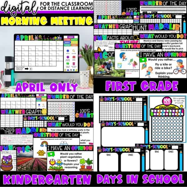 Digital Morning Meetings for Kindergarten & 1st Grade   Full Year Bundle 10