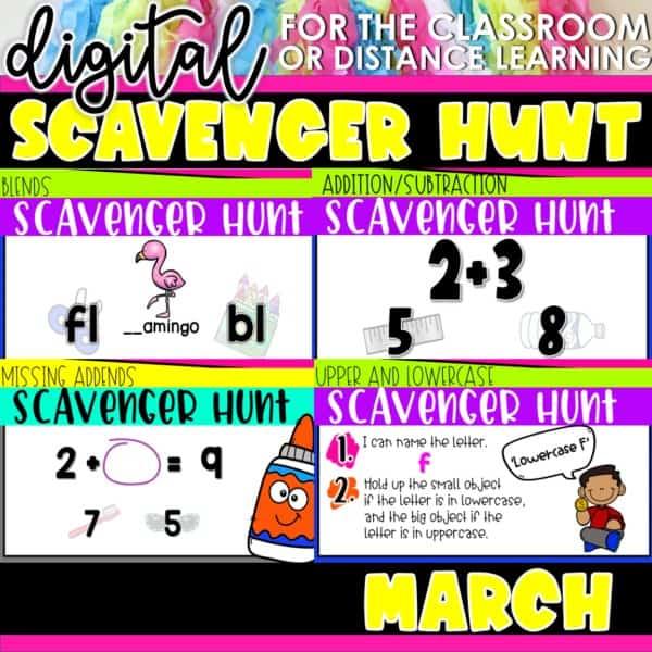 Academic Scavenger Hunts for Kindergarten and 1st Grade | Digital Bundle 10