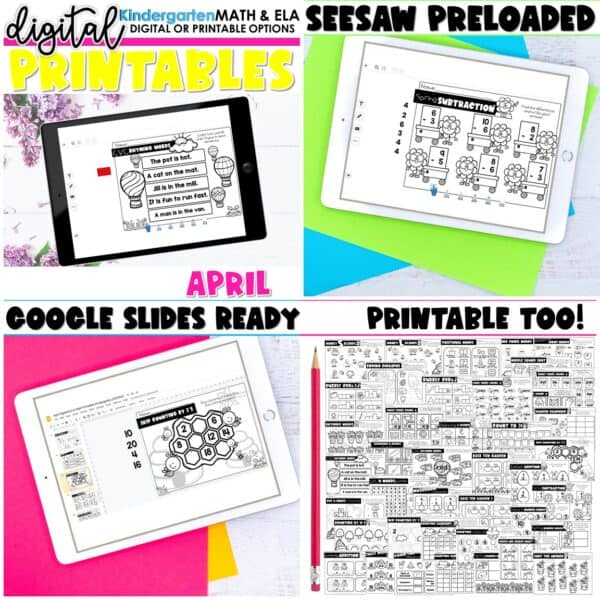 Kindergarten Digital Printables Bundle | SeeSaw Google or Print 10