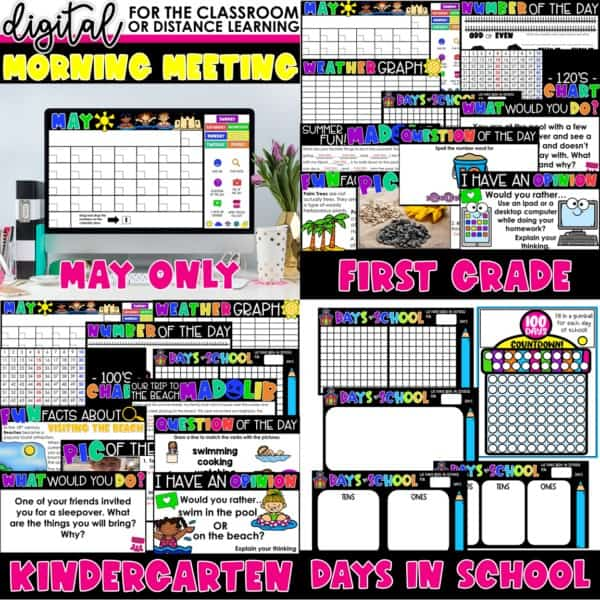 Digital Morning Meetings for Kindergarten & 1st Grade   Full Year Bundle 11