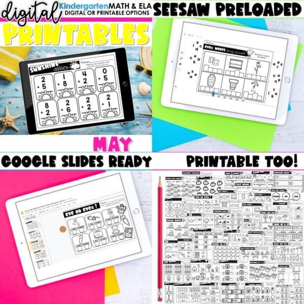 Kindergarten Digital Printables Growing Bundle | SeeSaw Google or Print 11