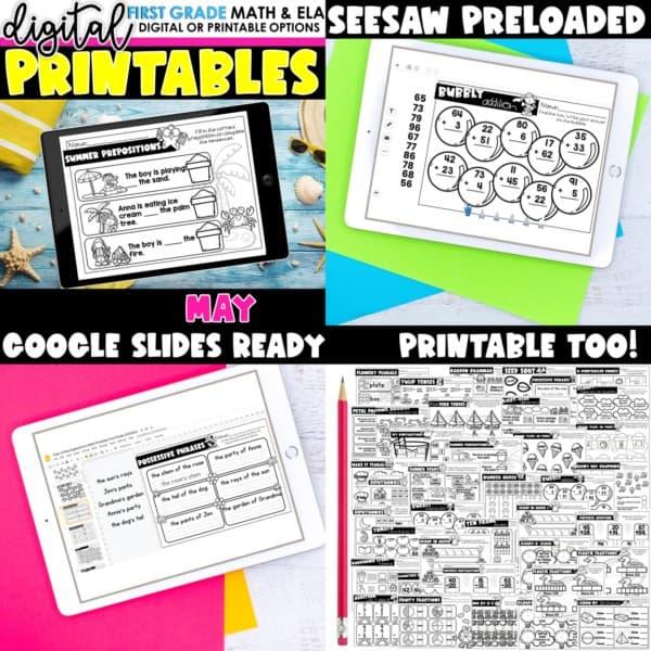 First Grade Digital Printables Bundle | SeeSaw Google or Print 14