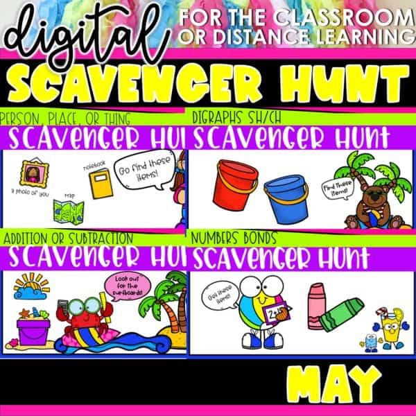 Academic Scavenger Hunts for Kindergarten and 1st Grade | Digital Bundle 12