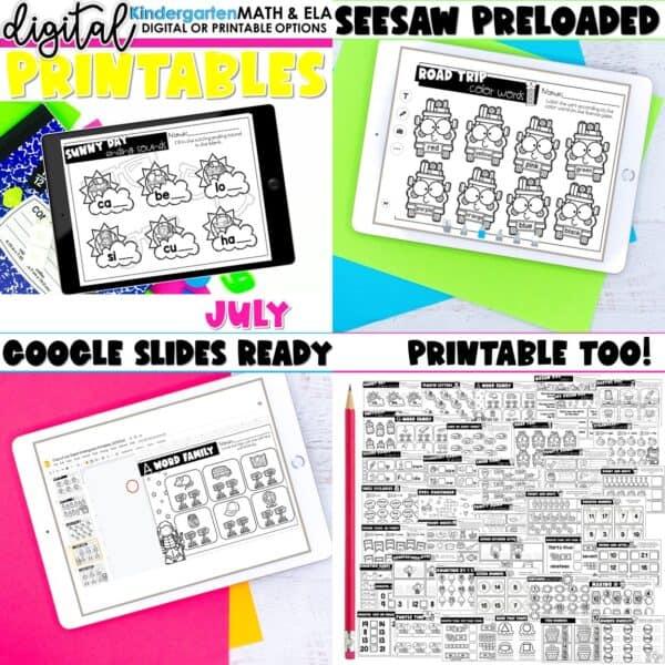 Kindergarten Digital Printables Bundle | SeeSaw Google or Print 13