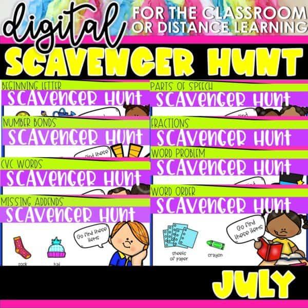 Academic Scavenger Hunts for Kindergarten and 1st Grade | Digital Bundle 14