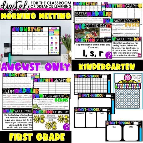 Digital Morning Meetings for Kindergarten & 1st Grade   Full Year Bundle 2