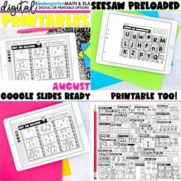 Kindergarten Digital Printables Growing Bundle | SeeSaw Google or Print 3