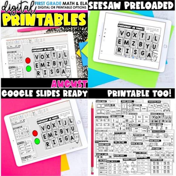 First Grade Digital Printables Growing Bundle | SeeSaw Google or Print 9