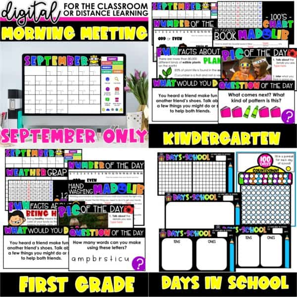 Digital Morning Meetings for Kindergarten & 1st Grade   Full Year Bundle 3