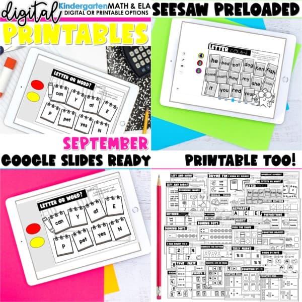 Kindergarten Digital Printables Growing Bundle | SeeSaw Google or Print 4