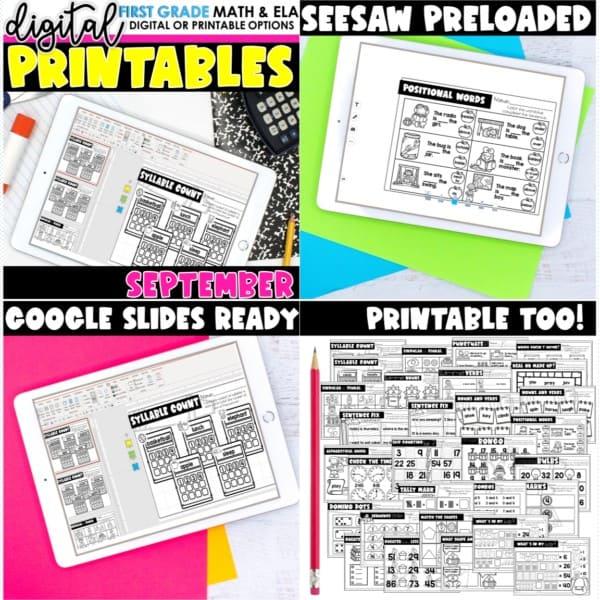 First Grade Digital Printables Growing Bundle | SeeSaw Google or Print 8
