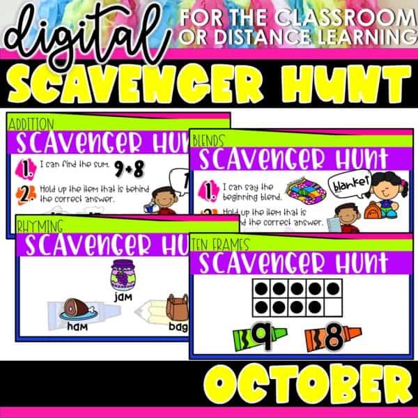 Academic Scavenger Hunts for Kindergarten and 1st Grade | Digital Bundle 5