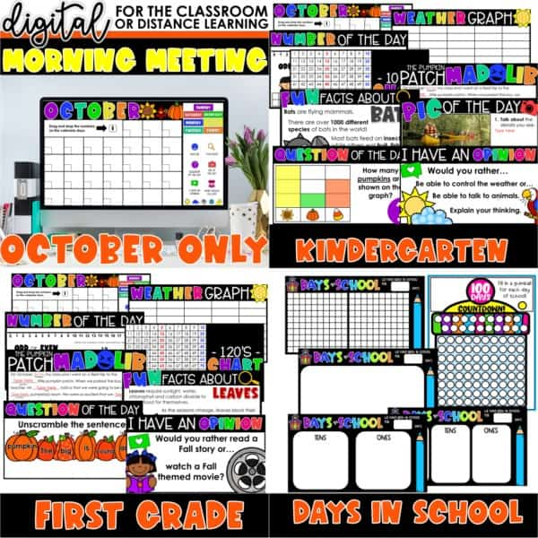 Digital Morning Meetings for Kindergarten & 1st Grade   Full Year Bundle 4