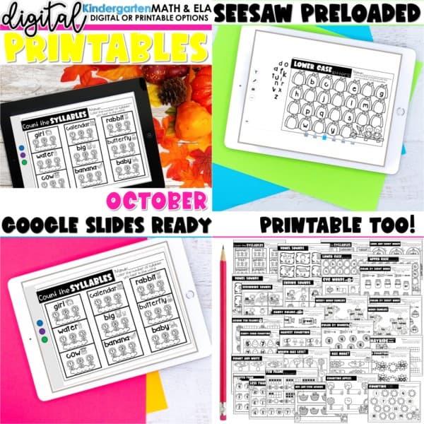 Kindergarten Digital Printables Growing Bundle | SeeSaw Google or Print 5