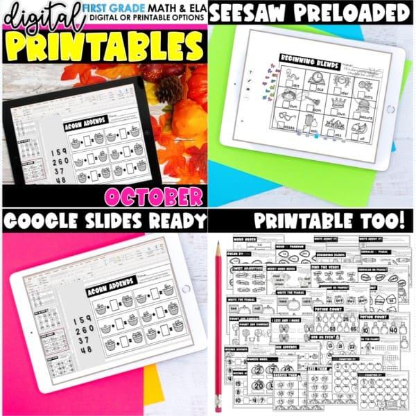 First Grade Digital Printables Growing Bundle | SeeSaw Google or Print 7