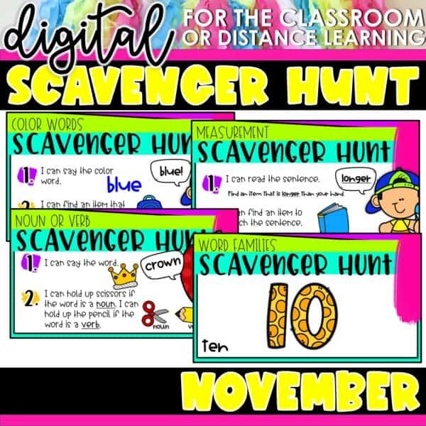 Academic Scavenger Hunts for Kindergarten and 1st Grade | Digital Bundle 6