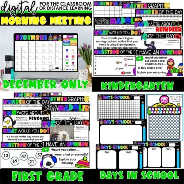 Digital Morning Meetings for Kindergarten & 1st Grade   Full Year Bundle 6