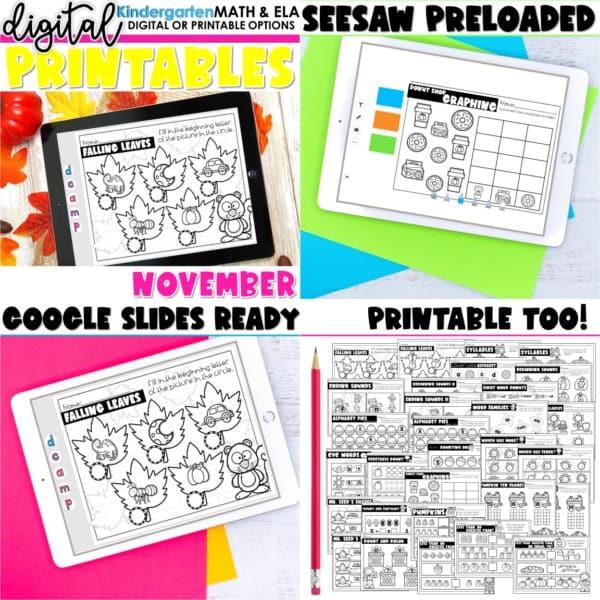Kindergarten Digital Printables Growing Bundle | SeeSaw Google or Print 6