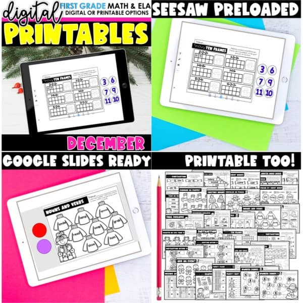 First Grade Digital Printables Growing Bundle | SeeSaw Google or Print 6