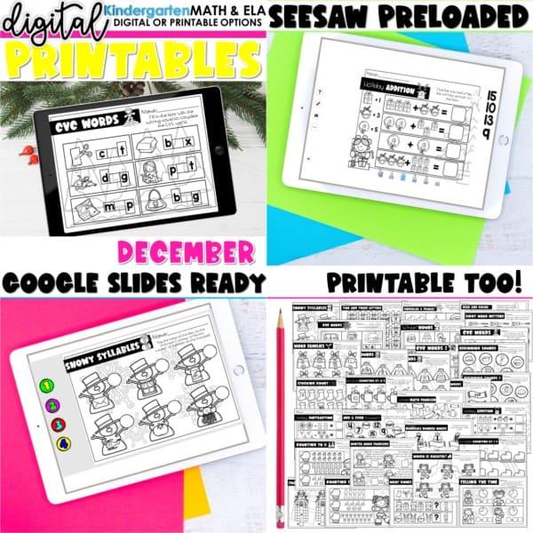 Kindergarten Digital Printables Growing Bundle | SeeSaw Google or Print 2