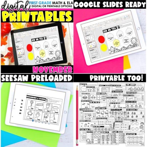 First Grade Digital Printables Growing Bundle | SeeSaw Google or Print 5