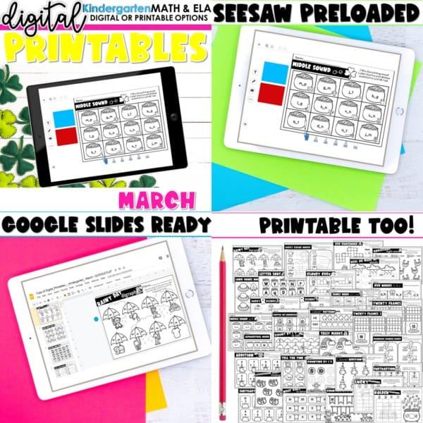 Kindergarten Digital Printables Growing Bundle | SeeSaw Google or Print 10