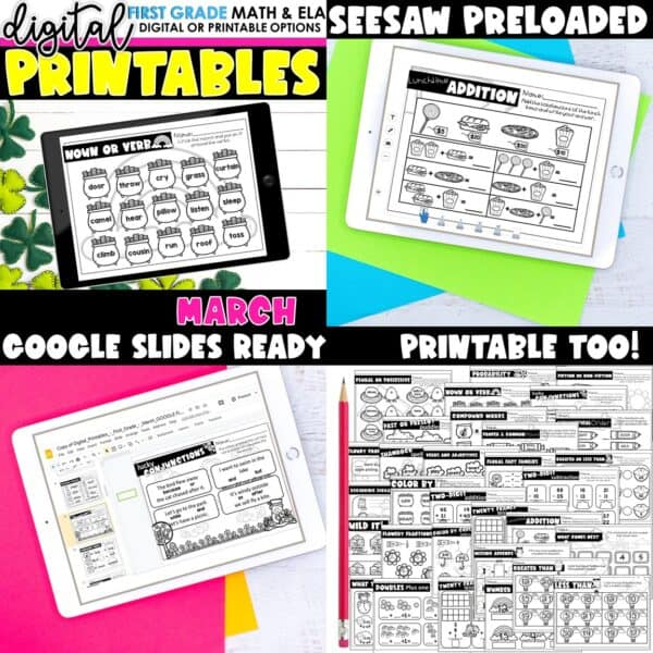 First Grade Digital Printables Bundle | SeeSaw Google or Print 12