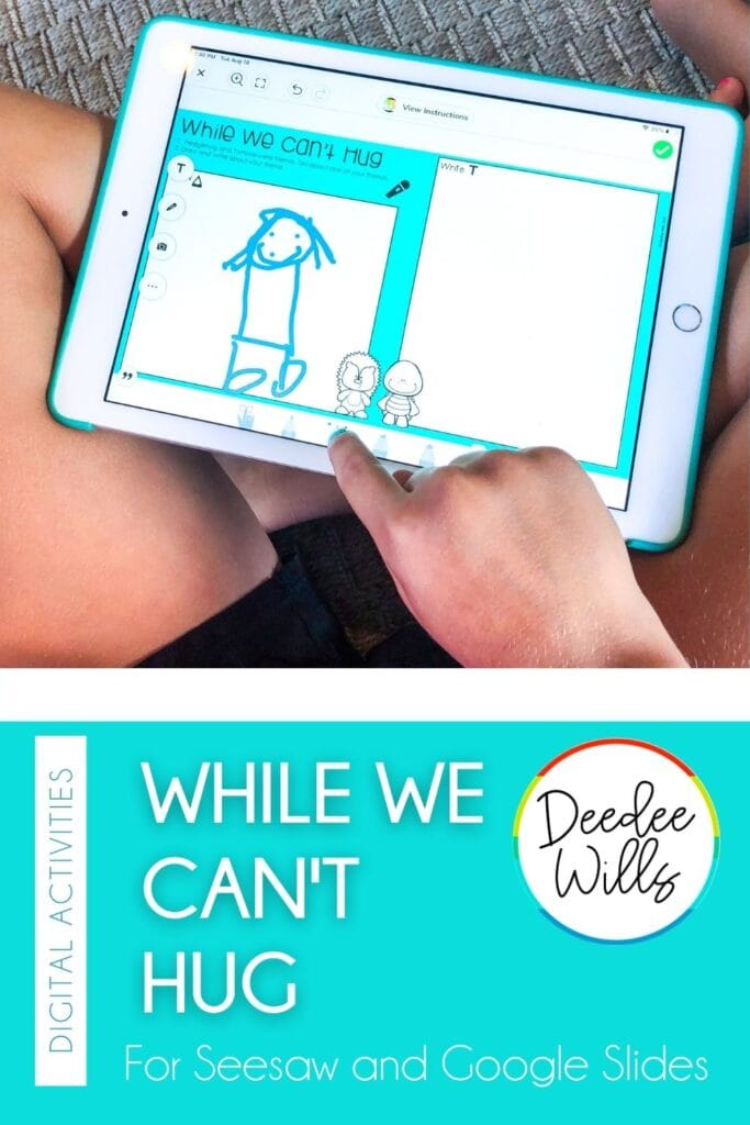 Printable and digital While We Can't Hug activities! Students respond to literature and practice math & literacy skills throughout this book study.