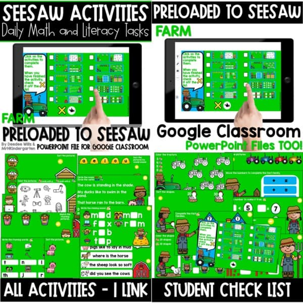 SEESAW Preloaded Themed Math and Literacy Centers | Growing Bundle 16