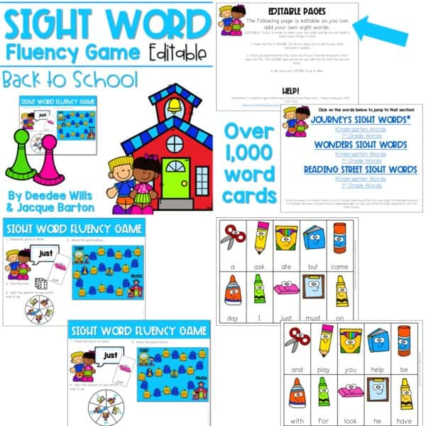 Sight Word Fluency Game (editable) | BUNDLE 9