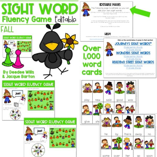Sight Word Fluency Game (editable) | BUNDLE 8