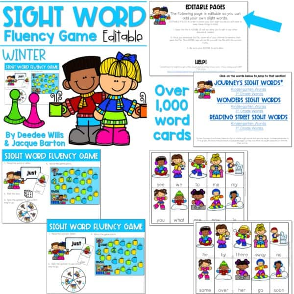 Sight Word Fluency Game (editable) | BUNDLE 7