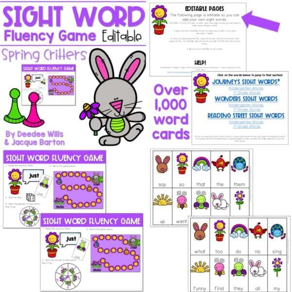 Sight Word Fluency Game (editable) | BUNDLE 6