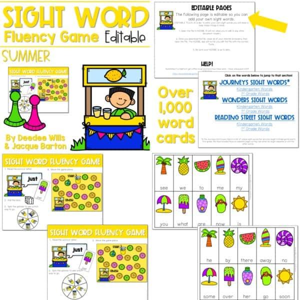 Sight Word Fluency Game (editable) | BUNDLE 5