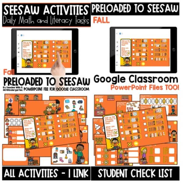SEESAW Preloaded Themed Math and Literacy Centers | Growing Bundle 5