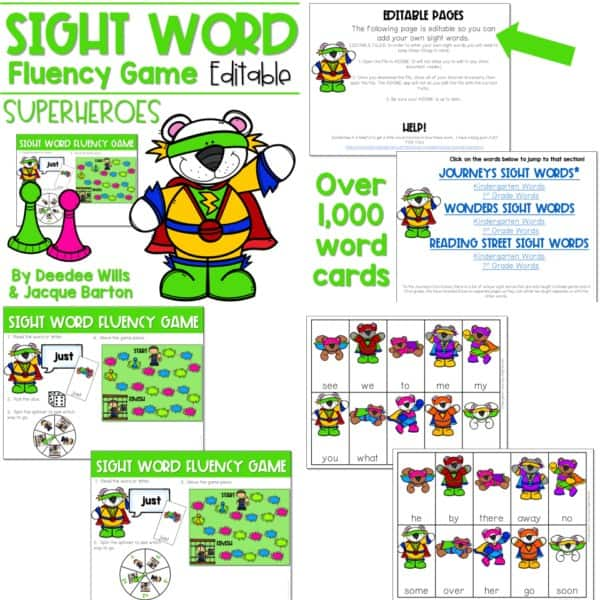 Sight Word Fluency Game (editable) | BUNDLE 4
