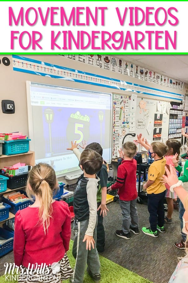 Movement videos for kindergarten to give your students a break during the day. Students will have fun practicing math and literacy skills with these monthly-themed videos.