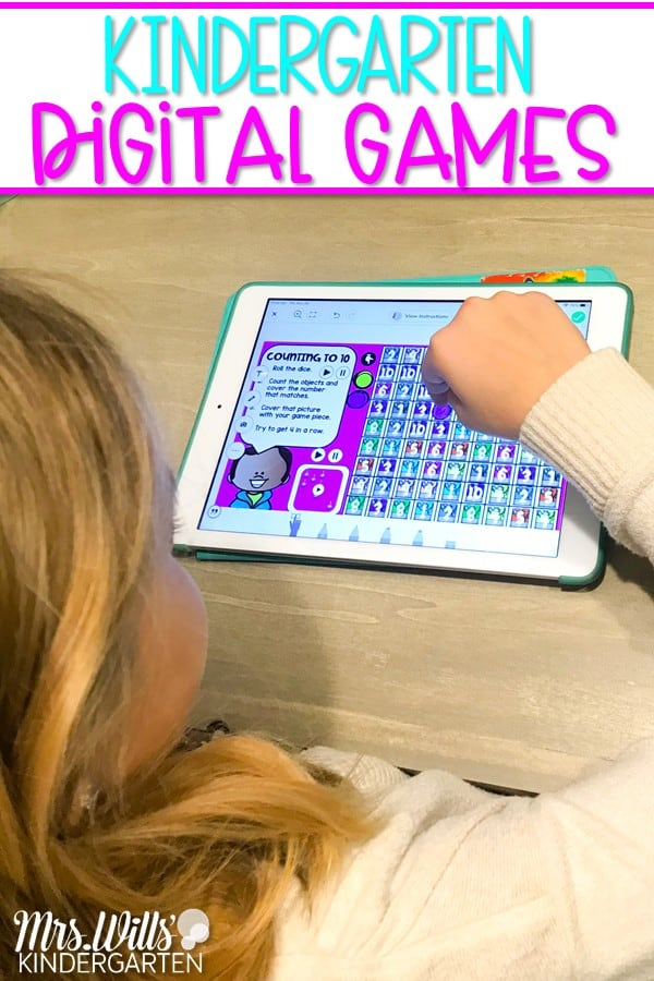 Kindergarten digital games to practice math and ELA skills. These digital games are preloaded to Seesaw and Google Slides with 1-click links!