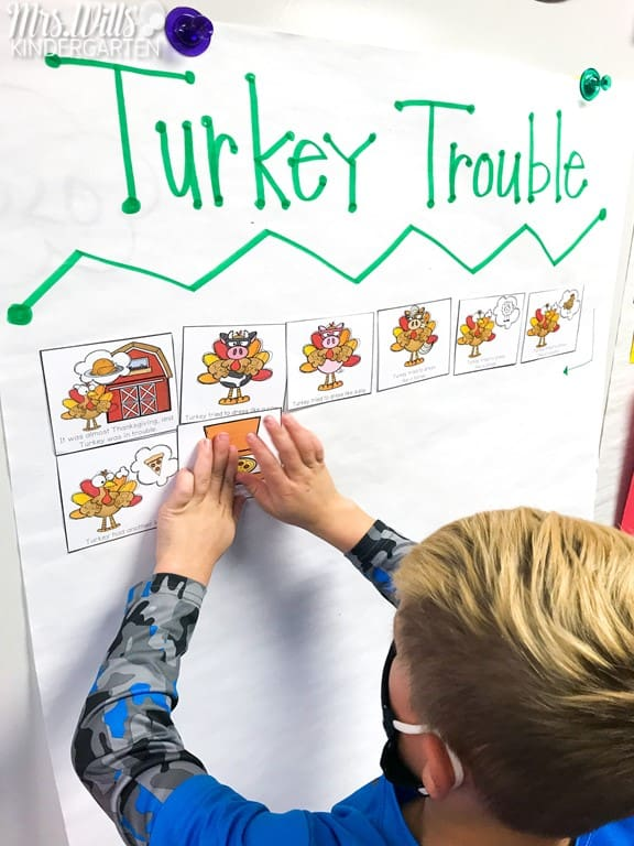 Turkey Trouble activities for kindergarten and 1st grade. Lesson plans and activities for this fun Thanksgiving book. Available in a digital & printable format!