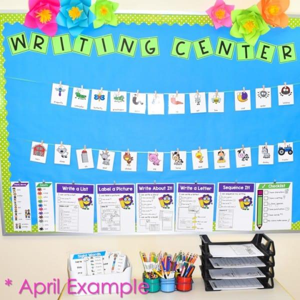 Writing center for kindergarten