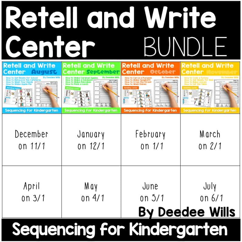 Retell and Write Center for Kindergarten | Growing Bundle 8