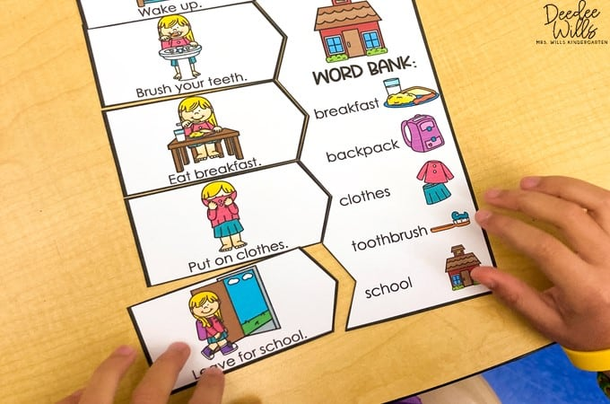 Retelling activities for kindergarten to build and develop sequencing and writing skills. Your early learners will love this monthly retell and write center!