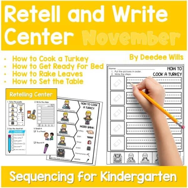 Retell and Write Center for Kindergarten | Growing Bundle 7
