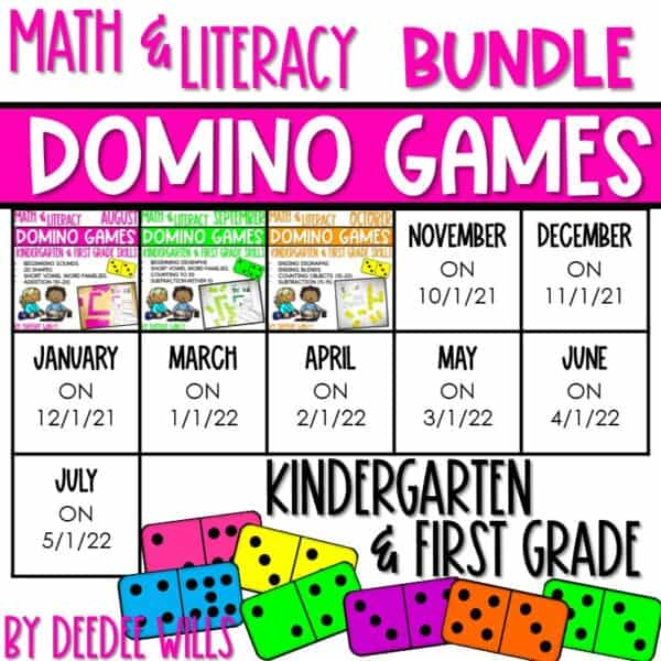 Domino Games   Math and Literacy Center GROWING Bundle 1